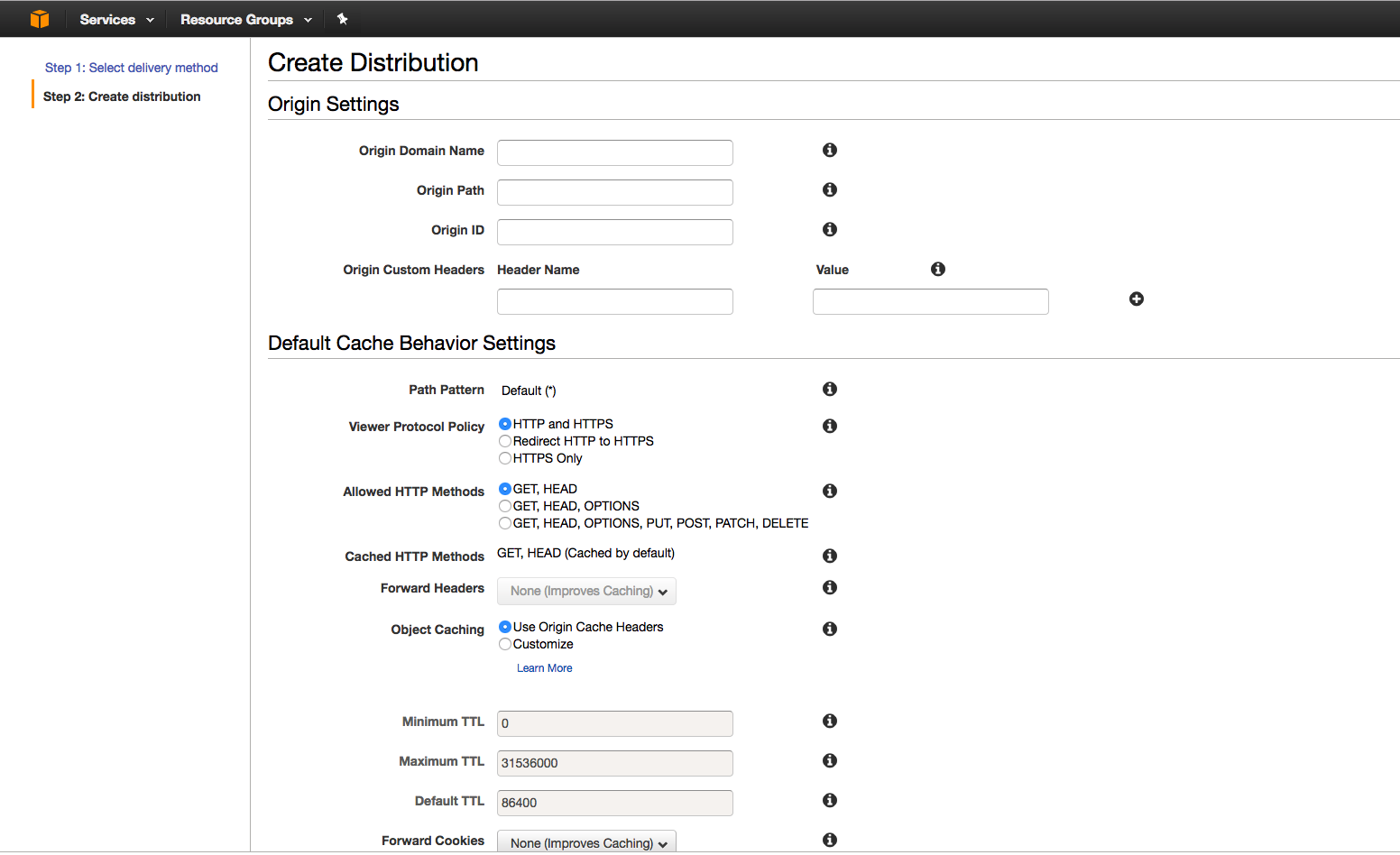 Creating new distribution in AWS portal